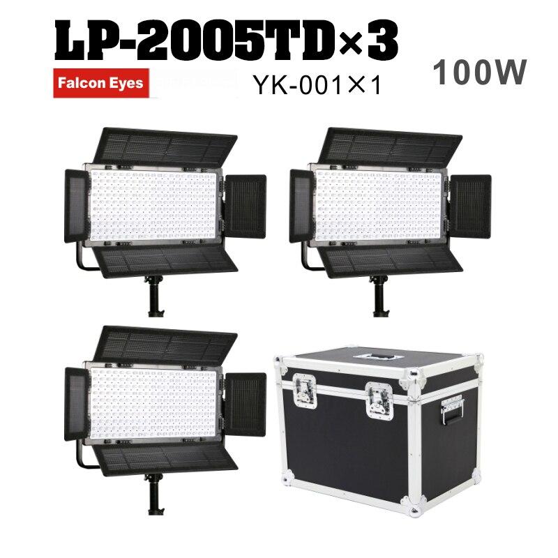 Falcon Eyes LED Panel Light 3 Kit 100W Dimmable LCD Studio Light Panel LED Video Light DMX512 LED photo lighting LP-2005TD