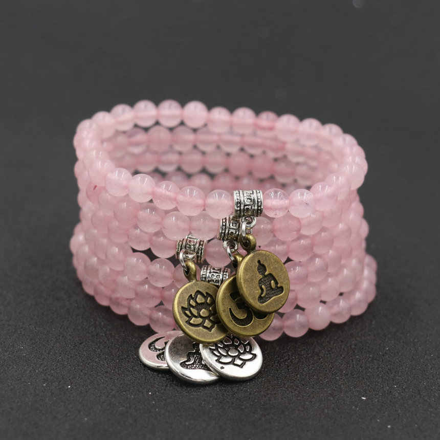 Minimalism 6 Styls Pink Quartz Stone 6mm Beaded Charm Bracelets Couples Lotus Buddha OM Yoga Bracelets For Women Bileklik