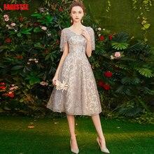 FADISTEE, коктейльные платья,, тонкие, v-образный вырез, короткие, стильные платья для женщин, vestido de novia, с кисточками, для выпускного вечера, кружевное платье размера плюс