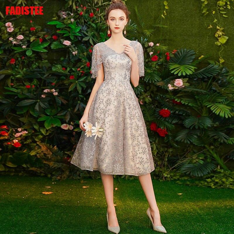 FADISTEE vestidos de cóctel Venta caliente Delgado cuello en V vestidos de estilo corto mujeres vestido de novia tassel prom vestido de encaje de talla grande