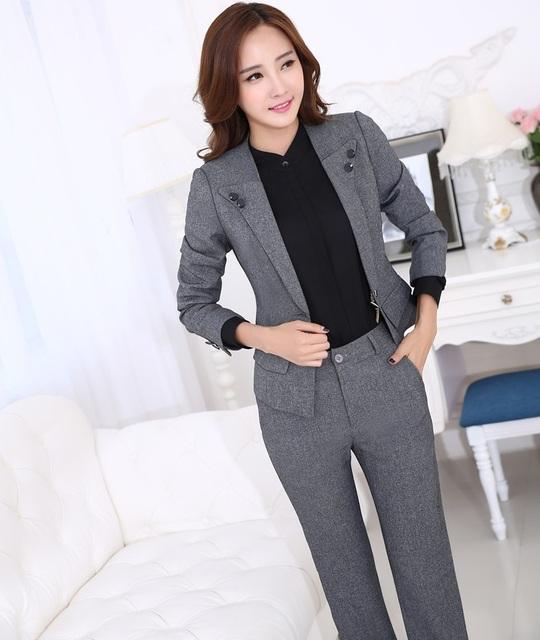 Novo Projeto Formal Uniforme Feminino Profissional Terninhos Escritório Senhoras Jaquetas E Calças de Negócios de Forma Magro Mulheres Calças Definidos