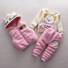 Мальчик одежда наборы зима Детские Наборы флис хлопок мальчик костюмы Дети спортивные костюмы мультфильм медведь пальто/кофты + брюки 3 шт.