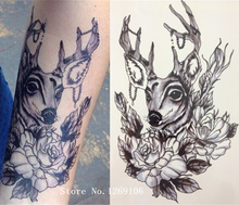 Simple Design Fashion Deer And Flower 21 X 15 CM Sized Sexy Cool Beauty Tattoo Waterproof #154