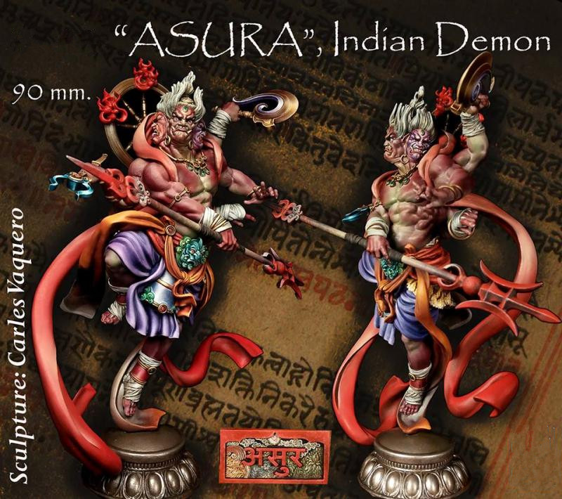 90MM Indian Demon ASURA Unpainted Resin Model Kit Figure Free Shipping