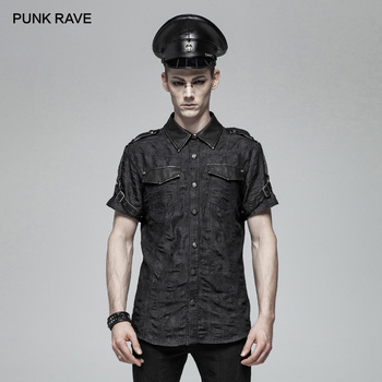 PUNK RAVE Men's Punk Military Simple  Black Short Sleeve Shirt Personality Handsome Casual Street Wear Shirts Men Tees