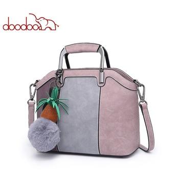 DOODOO Women Pu Leather Handbag Female Shoulder Crossbody Bags Ladies Top-handle Bag Tassel Spell Color 2019 Messenger Tote Bags