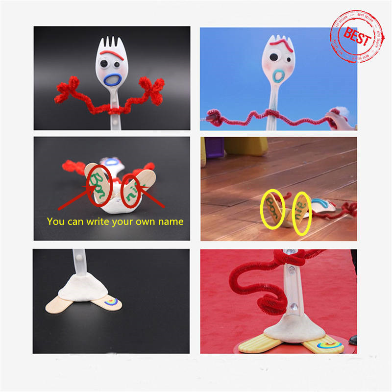DIY Make Your Own Forky Knife of Toy Story 4 Cartoon Buzz Lightyear Woody Jessie Slinky Dog Action figure collectible kid toys in Action Toy Figures from Toys Hobbies