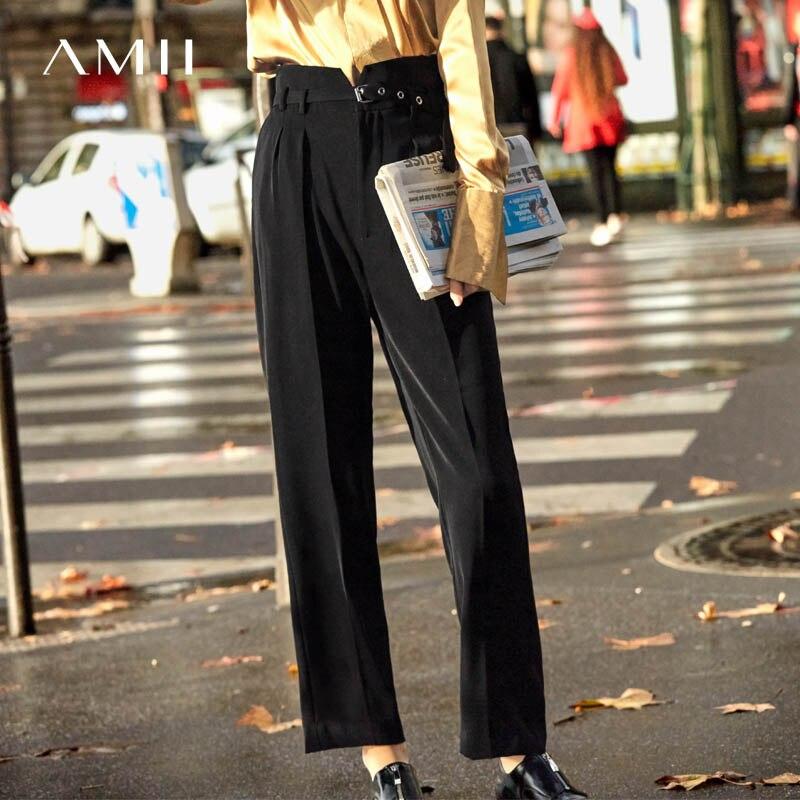 Black Femminile Allentata Impero Solido Pantaloni Donne Pants Delle Di Neri 2018 Stile Englend Causale Primavera Amii Cinghia Diritti wfRBaw6