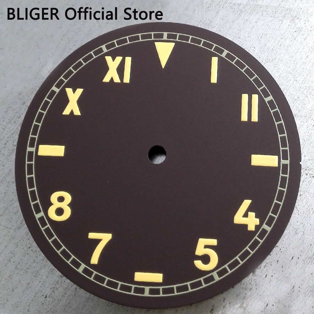 BLIGER 38.9MM Coffee Sterile Dial Yellow Roman Arabic Numerals Watch Dial Fit For ETA 6497 <font><b>ST3600</b></font> Hand Winding Movement D38 image