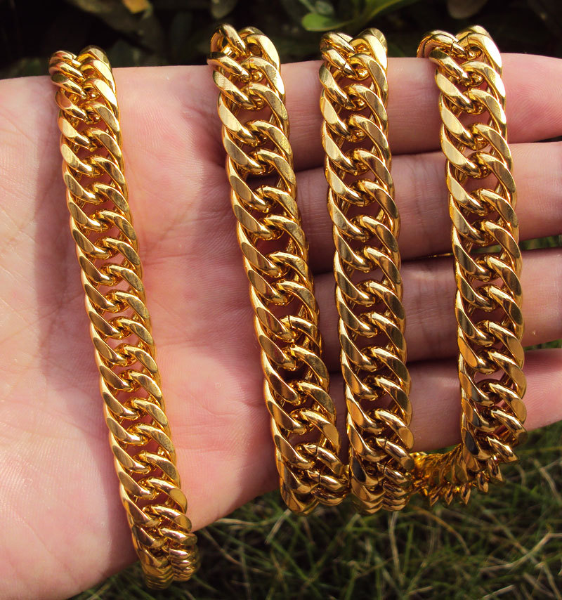 MENS HEAVY GOLD GF CUBAN LINK CHAIN BRACELET NECKLACE SET Real people - Fashion Jewelry - Photo 4