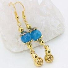 Lovely ethnic style long dangle earrings for women gold plated gourd blue jade beads new fashion elegant drop earrings B2623