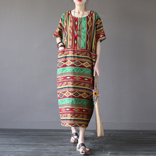 Vestidos 2017 Summer Dress Vintage Geometry Striped Loose Short-sleeve Dresses Novelty Cotton Robe Plus Size Women Dresses