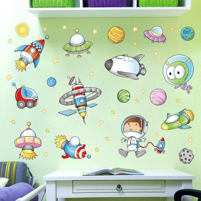 Space Astronaut Cartoon Wall Sticker Children Room Outer Planet Galaxy Rocket Ship Decorative Wallstickers Diy