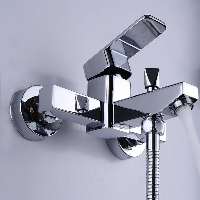 2015 Limited Chrome Shower Panel Copper Bathtub Faucet Shower Triple Tap Water Bathroom Concealed Cold And Hot Mixing Valve china sanitary ware chrome wall mount thermostatic water tap water saver thermostatic shower faucet