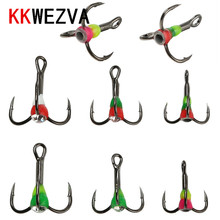 KKWEZVA 12pcs Different colors 6# 8# 10# Winter ice Fishing Treble Hook High Carbon Steel Tackle Tools With Box