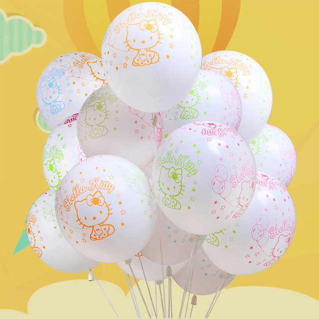 10pcs 12inch Latex Balloon Kitty White Hello Birthday Party Home Decoration Baby Boy Wedding Light Balloons