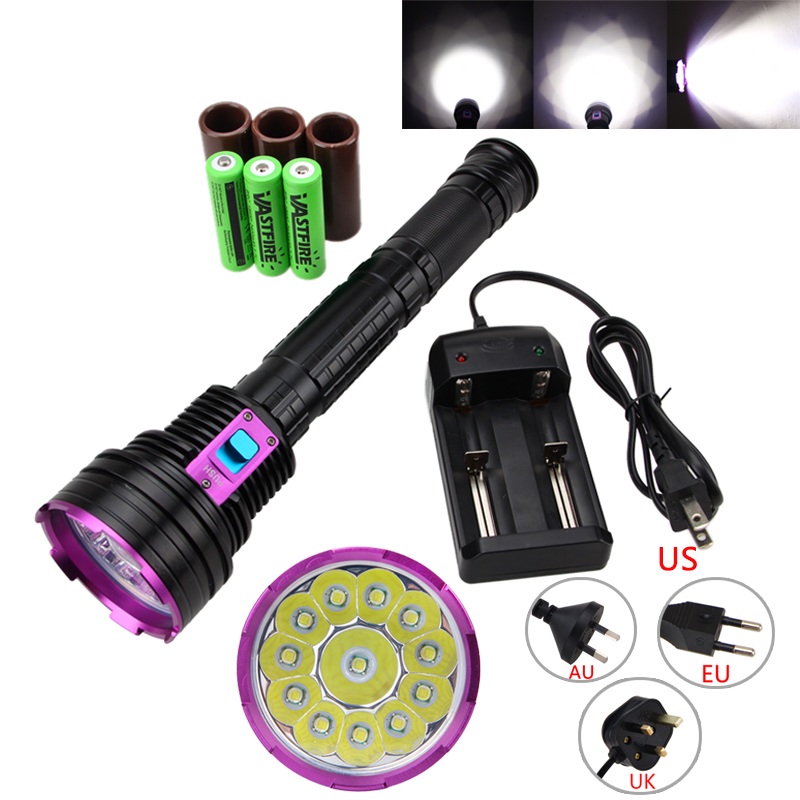 Dive 30000LM 12*XML  T6 LED Waterproof 100m Diving Scuba Flashlight Torch PCB with 18650 Battery +Charger 5x xml l2 12000lm led waterproof diving flashlight magswitch diving torch lantern led flash light 2x18650 battery charger