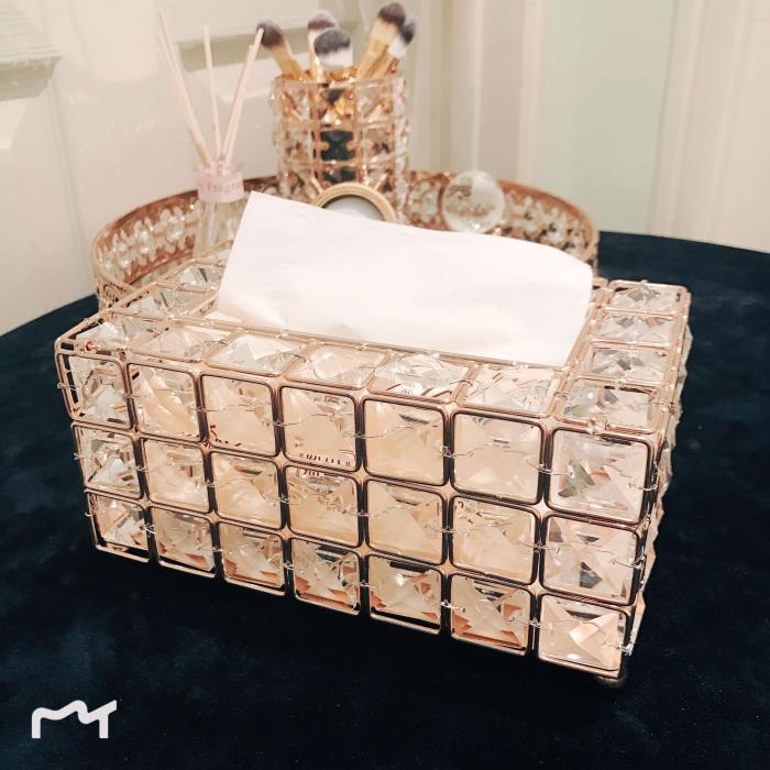 European crystal tissue box simple home living room coffee table drawers desktop napkin storage box creative