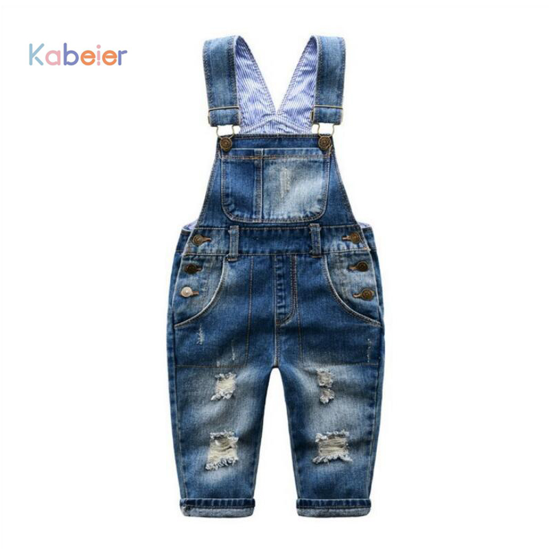 купить 2-7 T Brand Kids Jeans Boys Girls Denim Overalls Child Suspender Jeans Pants Casual Fashion Children Overall Jeans Hole Retail по цене 1134.88 рублей