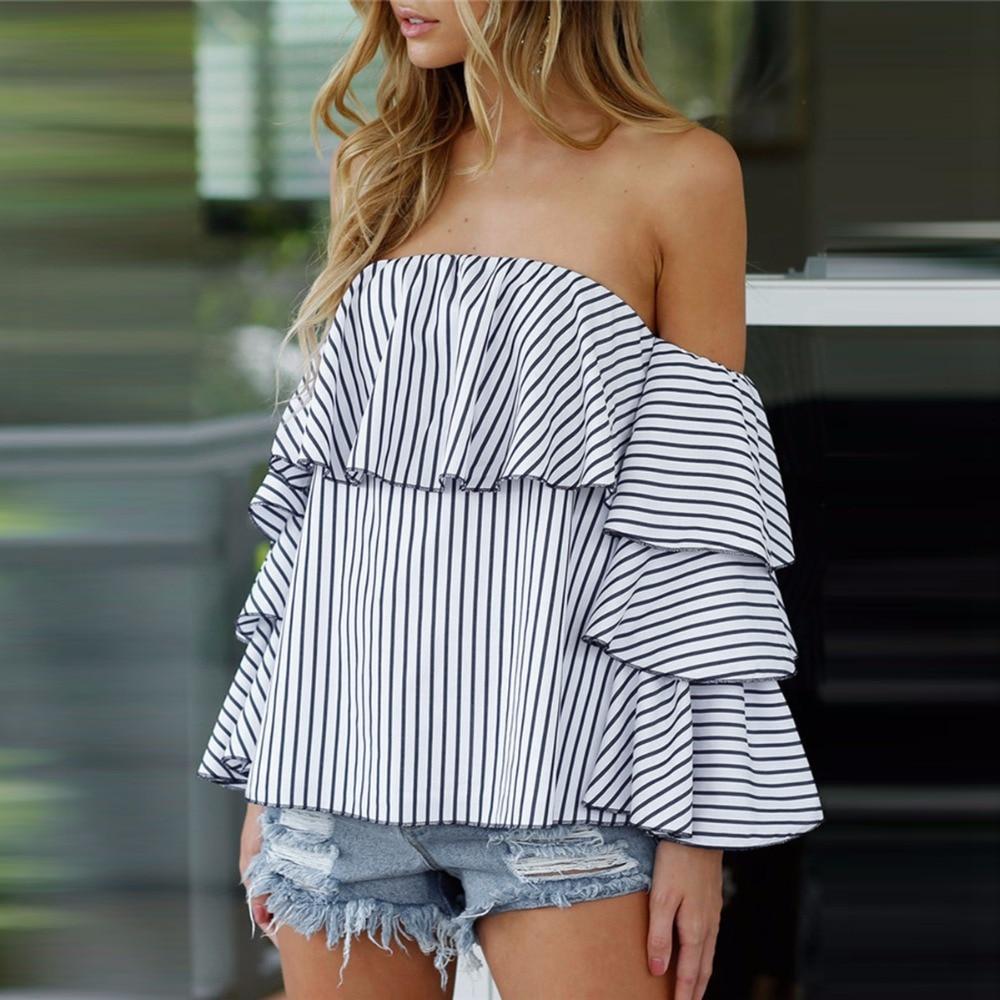 ropa de mujer moda women blouse tops leisure fashion off shoulde striped shoulder full sleeve