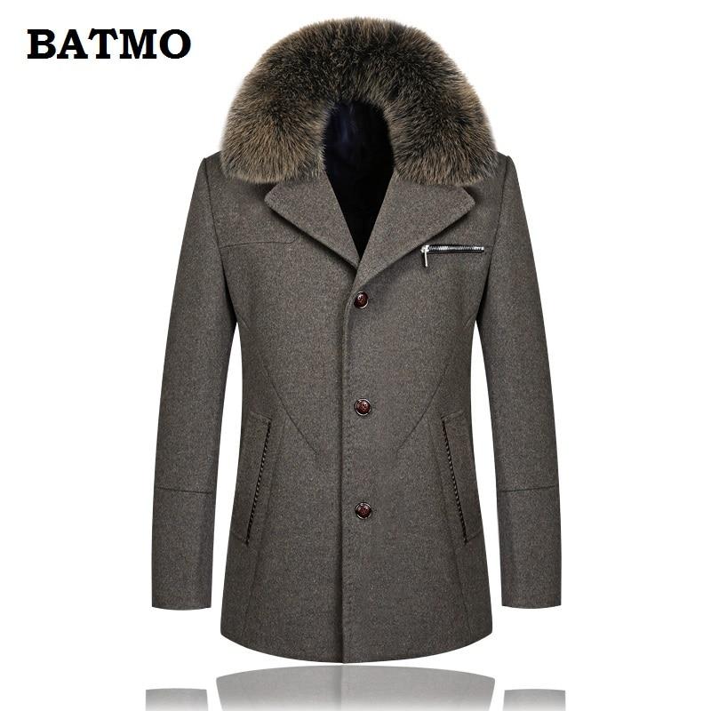 ec233654025 BATMO 2018 Новое поступление Зима Высокое качество шерсти Фокс меховым воротником  Повседневная плащ мужчин