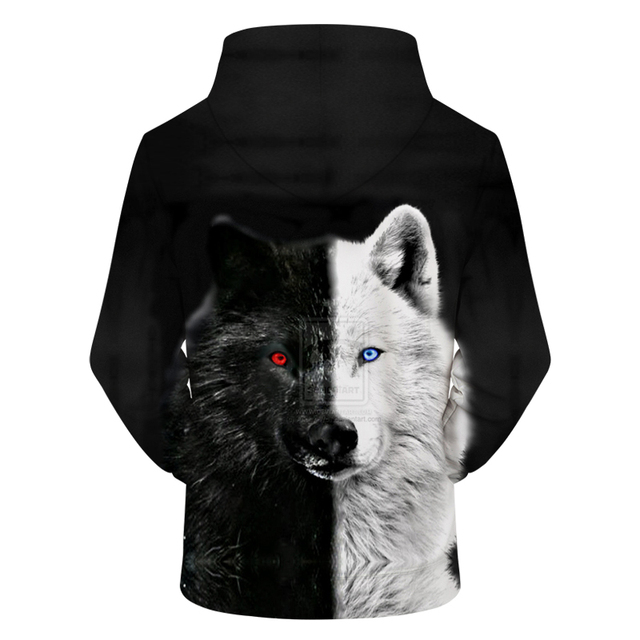 Ying and Yang Wolf Hoodies 3D Pullover
