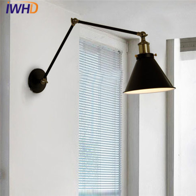 Americn Vintage Industrial Wall Lamp Loft Creative Swing Arm Wall Sconce Stair Porch Restaurant Bar Antique Wall Light Fixtures e27 vintage industrial wall lamp loft creative sconce balcony stair porch restaurant bar bedroom decoration home light with bulb
