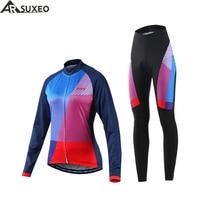 ARSUXEO 2017 NEW Women Cycling Long Sleeves Jersey MTB Bike Bicycle Shirts Jerseys Padded Cycling Wear