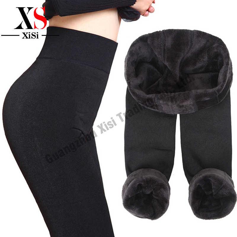 Nheap Yeni 2018 Kalınlaşma Siyah Deri Çizme Tozluk dar pantolon Sıcak kadın Pantolon kış pantolonları Kadınlar Için Yüksek Kalite