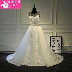 Модная сексуальная видеть сквозь кружева свадебное платье съемный Бисер Sash Съемная Хвост Часовня Поезд Robe De Mariage MTOB1761