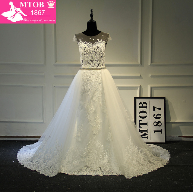 Fashionable Y See Through Lace Wedding Dress Removable Beading Sash Detachable Tail Chapel Train Robe De