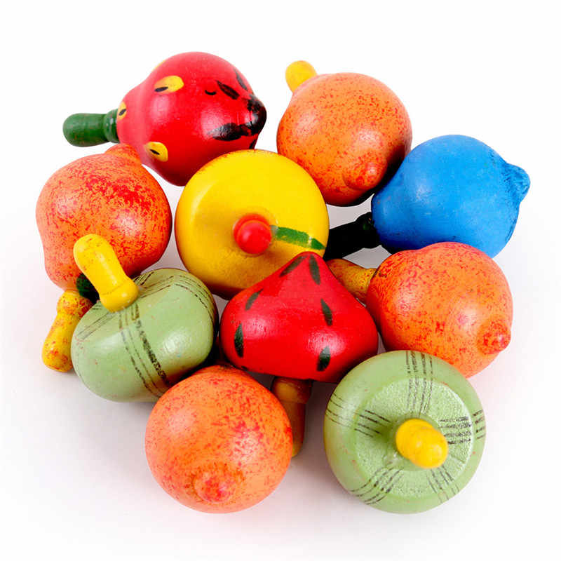 Drop Shipping Classic Houten Spinner Roterende Multicolour Fruit Tol Baby Kinderen Speelgoed