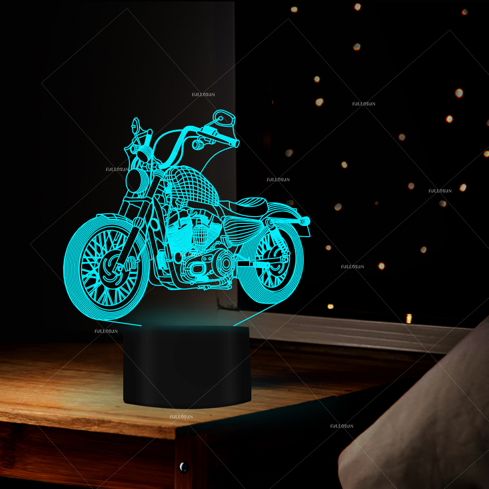 car addiction 3D LED 7 Color moto moulding Night Light Changing decoration Lamp Bulbing Light Acrylic 3D Illusion Desk light touching color changing 3d illusion fish led night light
