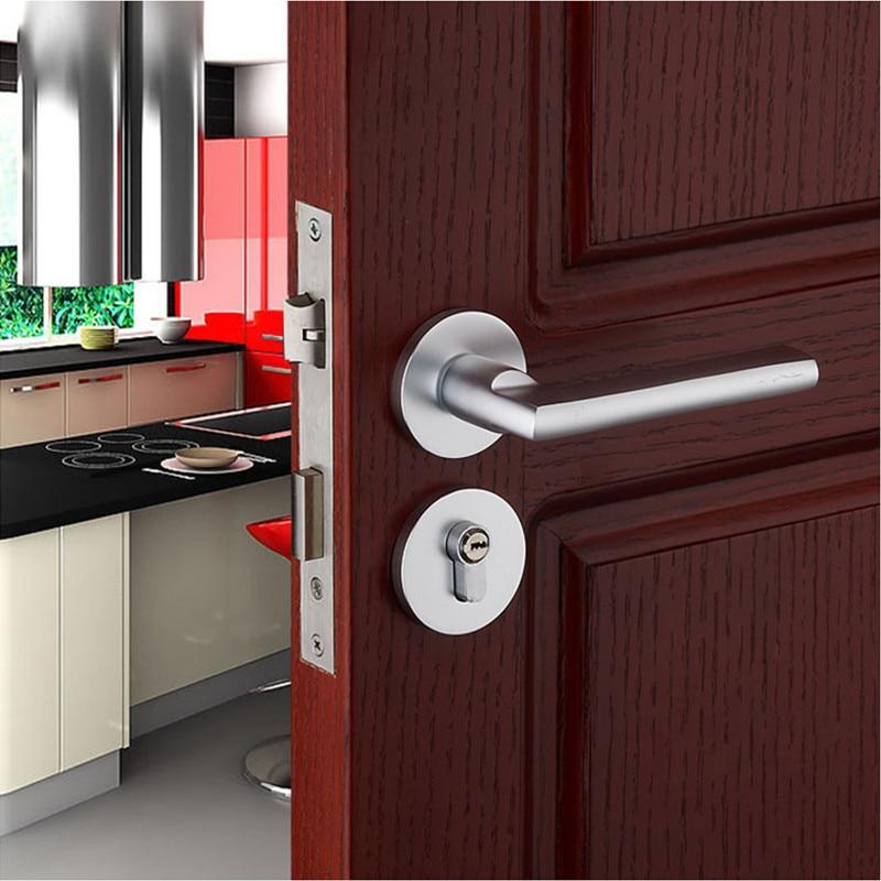 Simple Europe Style décoration espace aluminium porte intérieure chambre portes porte en bois serrures mécaniques muet matériel serrures