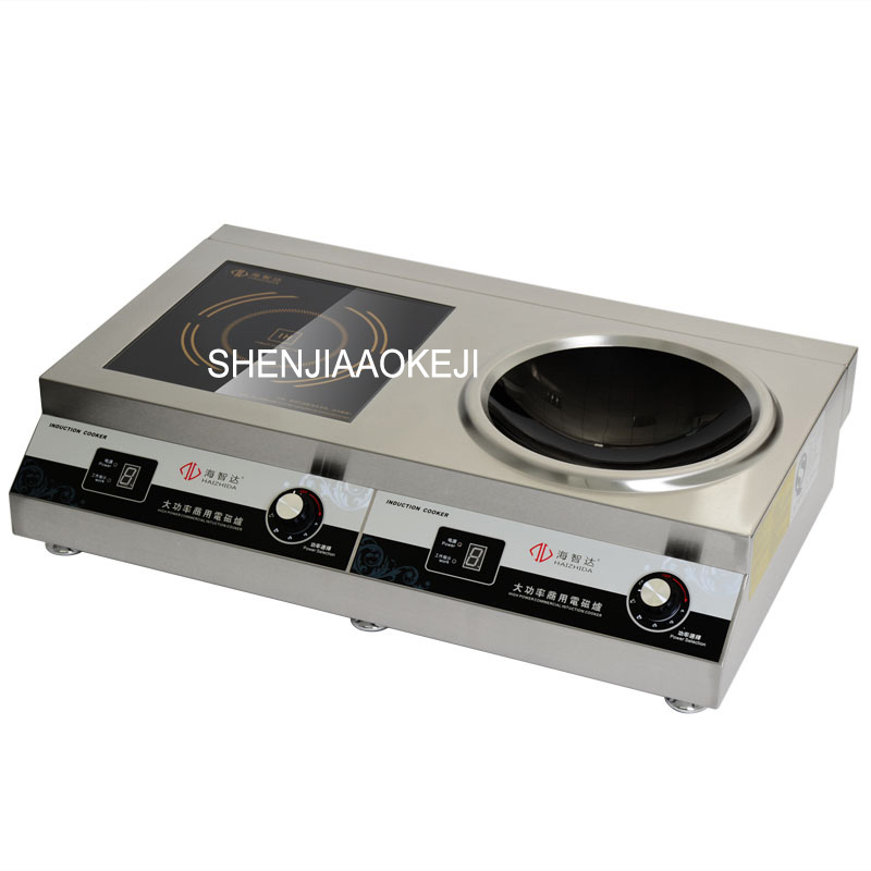 Induction cooker 220v Double head combination furnace High-power induction cooker Flat and concave furnace 1pc 220v 50hz hrz288 home concave induction cooker 3000w high power blasted touch screen embedded battery stove 26 5cm concave