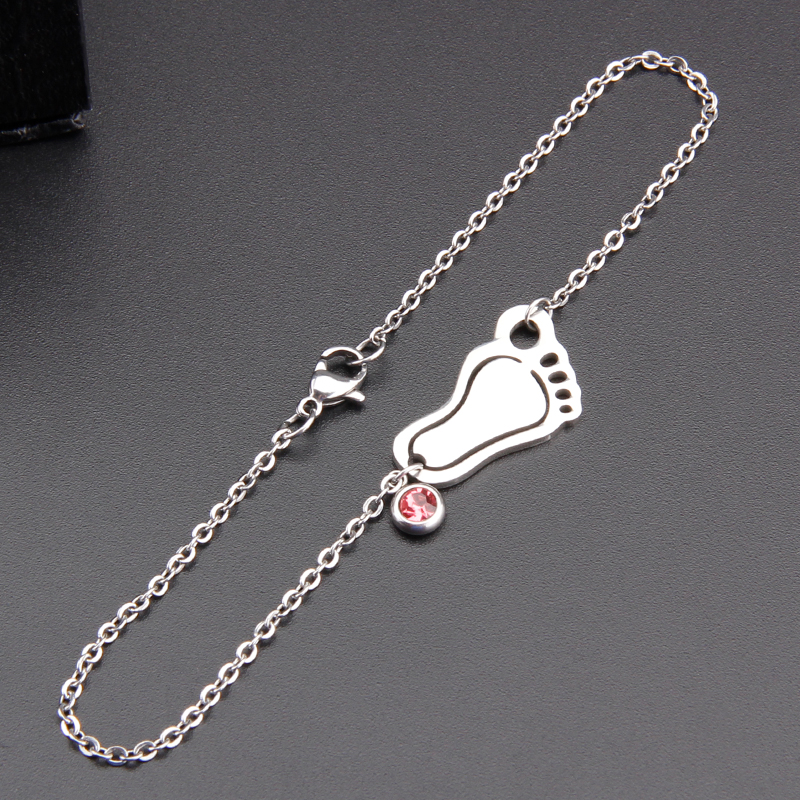 Lovely Simsimi Baby Foot & Birth Stones Charm Choker For Mum Women Jewelry Stainless Steel Origin Fashion Necklaces Gift Jewelry Jewellery & Watches