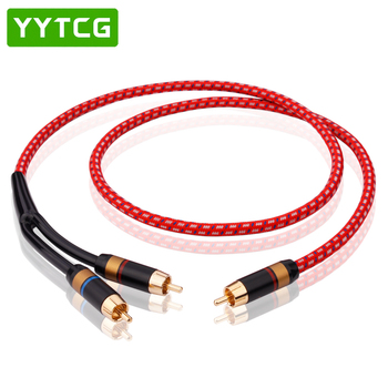 YYTCG HIFI Single RCA to Dual RCA Subwoofer audio cable Pure Copper One Sub-2 Splitter Y RCA Cable