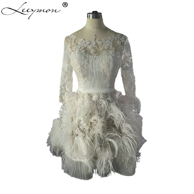 Factory Luxury Feathers Short Wedding Dresses 2017 Lace Applique