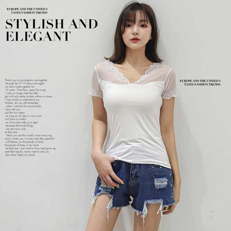 Женская Повседневная кружевная строчка простая тонкая с v-образным вырезом с коротким рукавом Нижняя рубашка дикая футболка