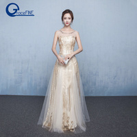 Real Photos Sexy Backless Gold Mesh Sequins Formal Party Banquet Dresses with Crystal Elegant Dress Host Festive Costume