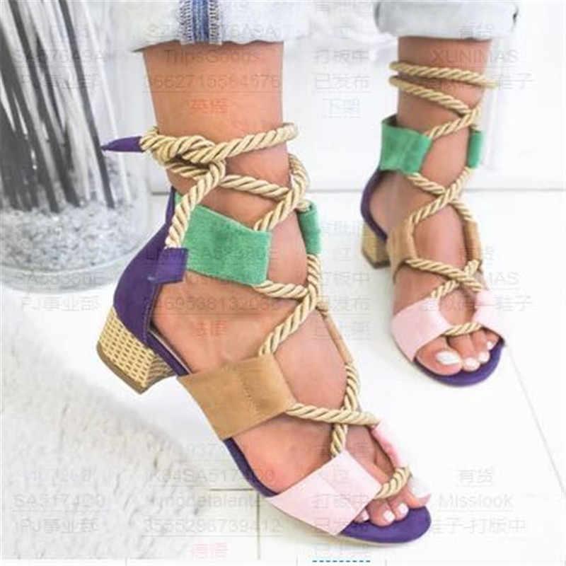 SHUJIN 2019 Espadrilles kadın sandalet topuk sivri balık ağzı gladyatör sandalet kenevir halat Lace Up platform sandaletler