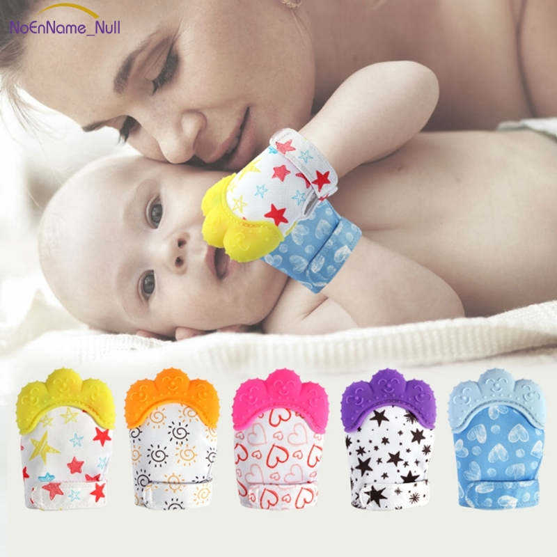 Hot Selling Baby Glove Silicone Teether Pacifier Teething Wrapper Sound Candy Mitten Nursing APR23