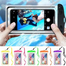 Universal waterproof Mobile Phone Case For Samsung S10 S9 Plus Sealed Underwater Cell Phone Pouch Bag For iPhone Huawei P30 Pro(China)