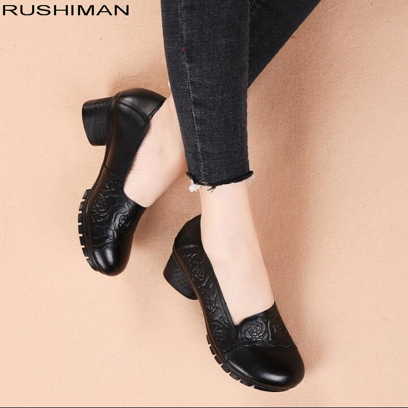 2019 spring retro ethnic style thick Genuine Leather Single Shoess round head comfortable non slip Casual