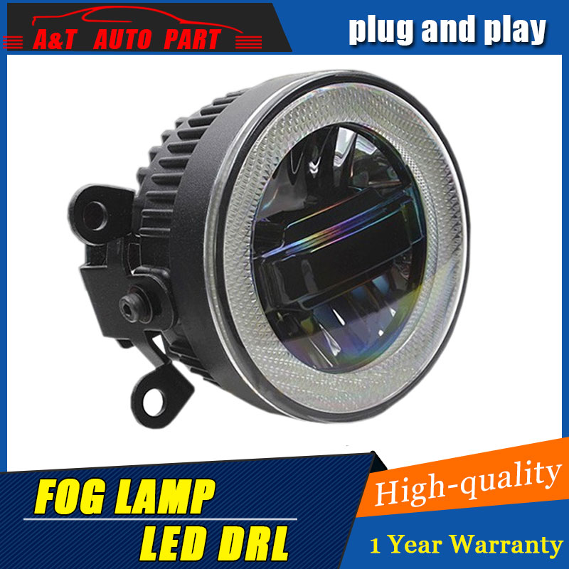 JGRT Car Styling Angel Eye Fog Lamp for ASX LED DRL Daytime Running Light High Low Beam Fog Automobile Accessories
