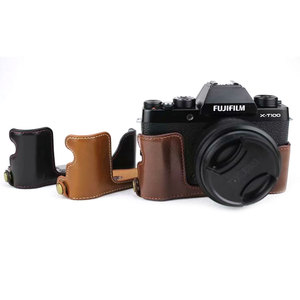 Image 2 - Luxus Leder Kamera Fall Abdeckung für Fujifilm X T100 Fuji XT100 PU Halb Körper Tasche Batterie Openning Mini Lagerung Tasche kamera Gurt