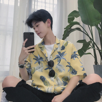 2018 Men S Summer Newest Fashion Trend Loose Tide Pineapple Printing Cotton Casual Short Sleeves Shirt