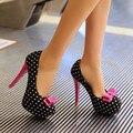 Mujeres elegantes Bombas Hermoso Bowtie Impresión de Cuero Punta Redonda Tacones Finos Bombas Negro Blanco Zapatos de Mujer de Tamaño EE.UU. 4-10.5