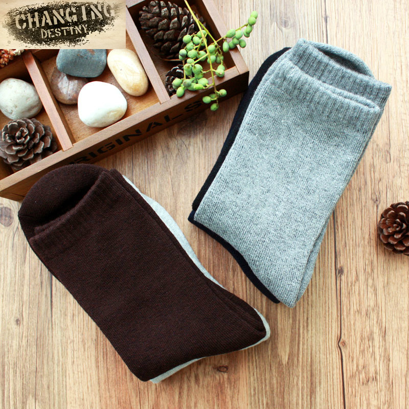 New winter cotton mens socks Thickening male socks Pure color business mens socks Absorb moisture breathable socks