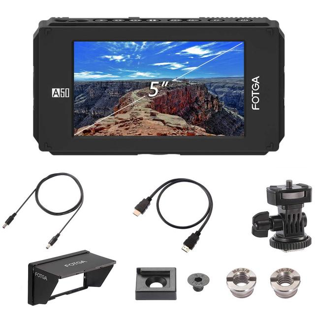 """Fotga DP500IIIS A50 5"""" FHD Video On Camera Field Monitor Touch Screen 1920x1080 700cd m2 HDMI 4K Input Output for F970 A7 GH5"""